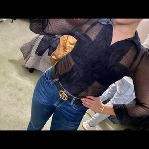 Guess Jeans Sheer L/S Sexy Blouse